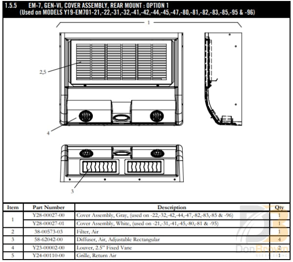 Grille Return Air Em-7 Gen Vi Y24-00110-00 Air Conditioning