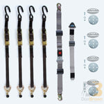 M-Series Manual Belt Kit For L Track. Set Of 4 Overcenter Belts Integrated Lap Belt Fixed Shoulder