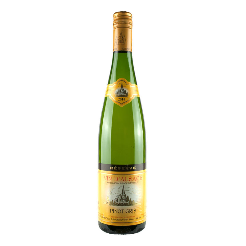 An off-dry, slightly sweet, fragrant white wine from Alsace in France made from Pinot Gris grapes. Cave Vinicole Alsace Pinot Gris Réserve