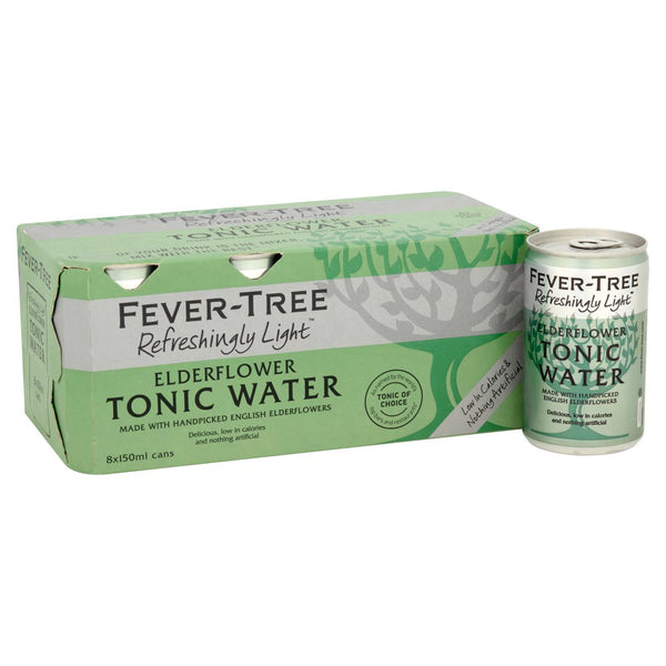 Fever Tree Refreshingly Light Elderflower Tonic Water 150ml Cans
