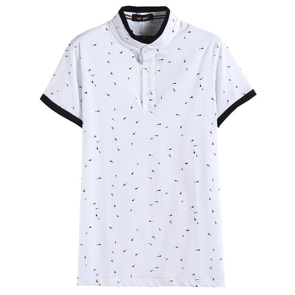 2017 Summer Guitar Printed Stand Collar Polo Shirt Men Short Sleeve Casual Men Shirts Slim Fit Polo Homme Cotton Mens Polos -mens - 30 Dollar Fashion