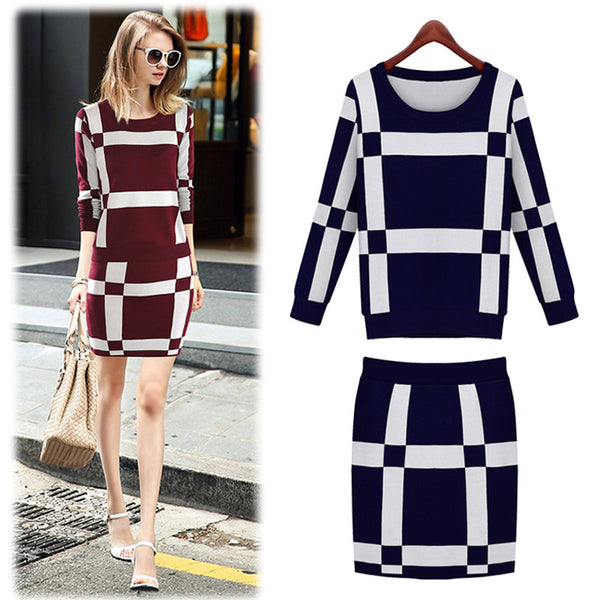 Two Piece Knit Suit -Dresses - 30 Dollar Fashion