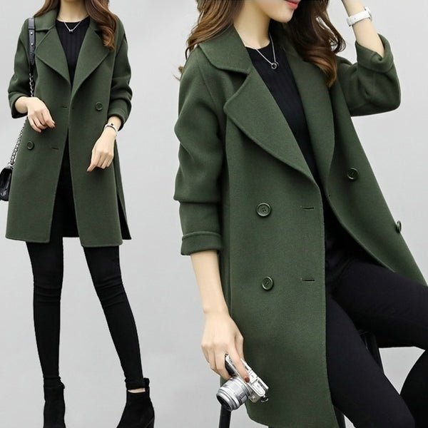 Military Style Double-breasted Coat