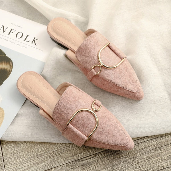 Women's Flat Mules Slip-Ins With Buckle