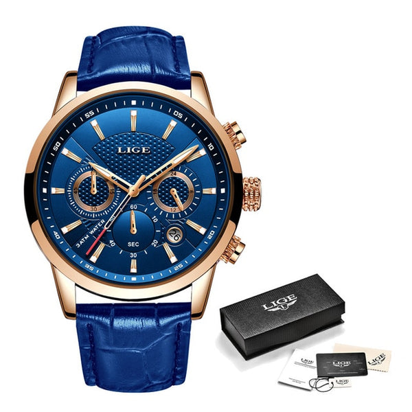 Men's Leather Chronograph Waterproof Watch