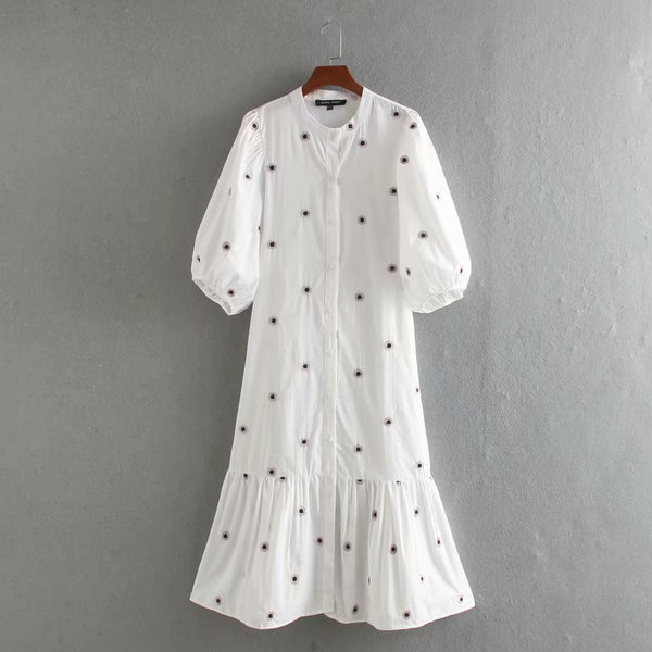 Embroidered Puff Sleeved Cotton Shirt Dress