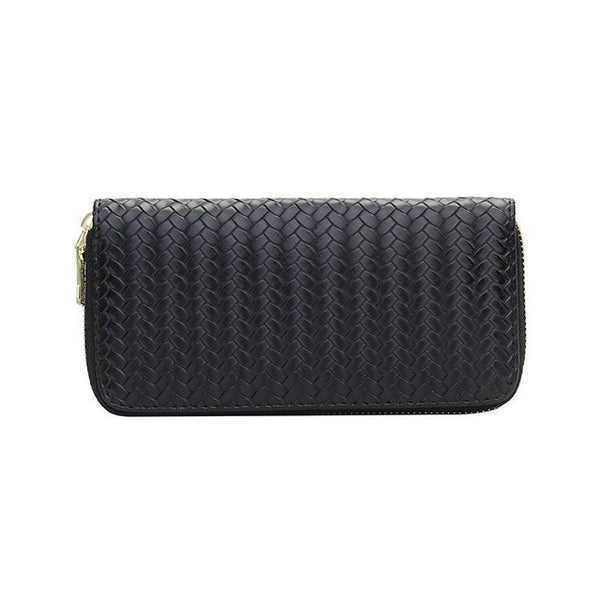 Weave Long PU Wallet With Cell Phone Pocket