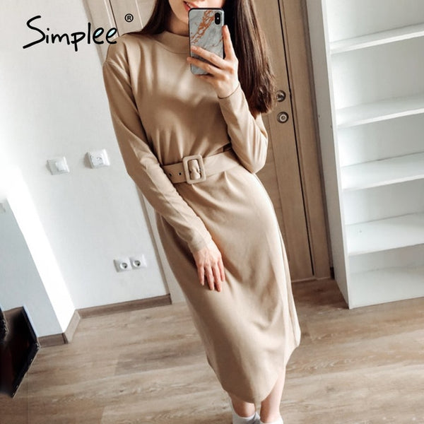 Knitted Long Sleeve Midi Turtleneck Dress