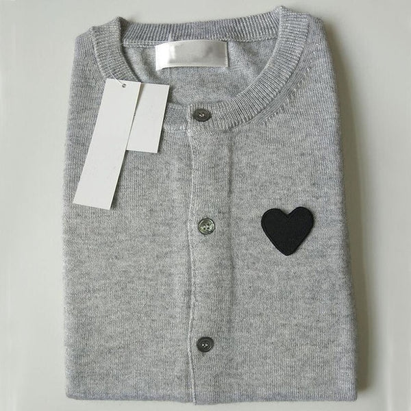 Wool O-Neck Cardigan With Heart Appliqué