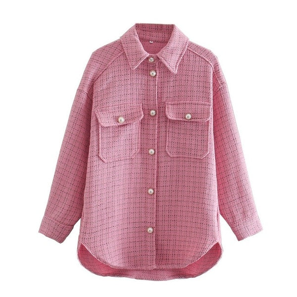 Plaid Overshirt Jacket With Pearl Buttons