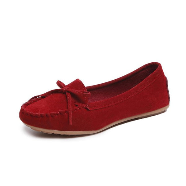 Women's Suede Slip-On Loafers/Moccasins With Bowtie