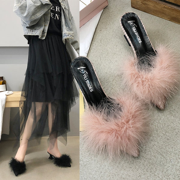 Fluffy Fashion Pointed Toe Slip On