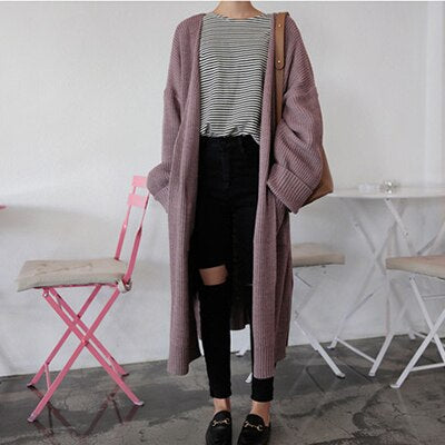 Long Knitted Cardigan With Pockets