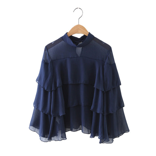 Design Ruffles Chiffon Blouse -Ladies Tops - 30 Dollar Fashion