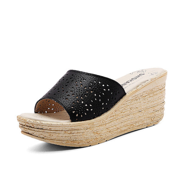 Leather Wedge Sandals -Sandals - 30$fashion