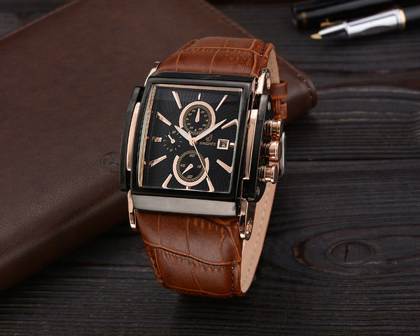 Square Design Leather Strap Quartz Watch -men's watches - 30$fashion