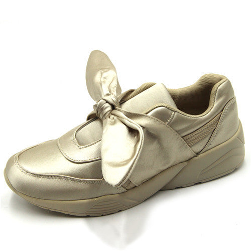 Girly Silk Bow Lace-up Sneakers