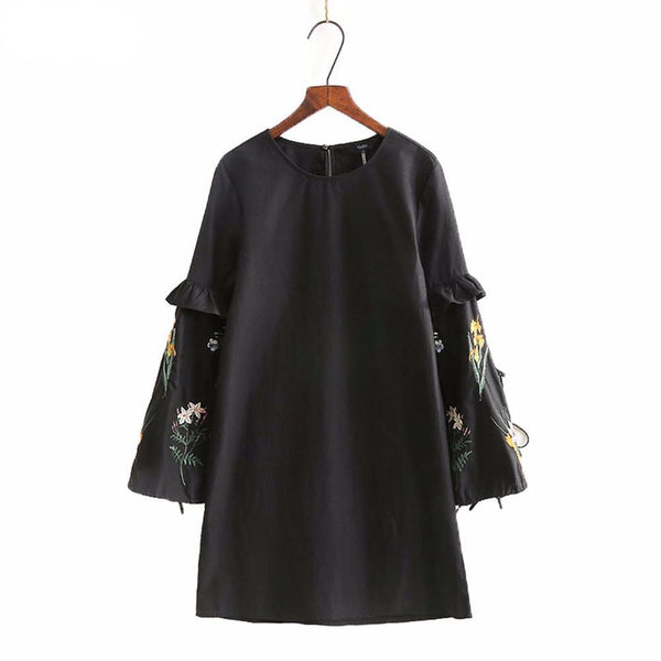 Flower Embroidery Sleeve A-Line Dress
