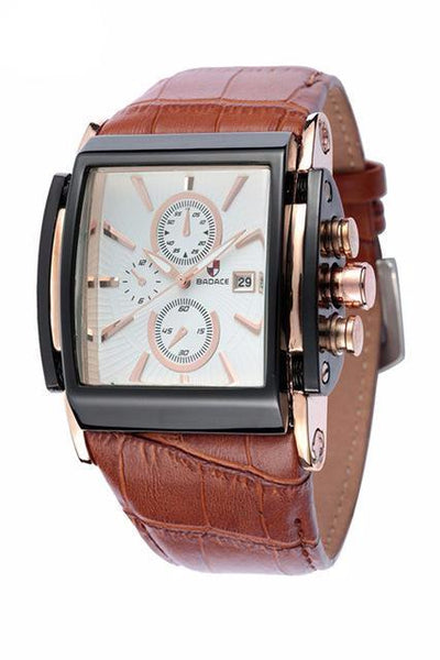 Square Design Leather Strap Quartz Watch