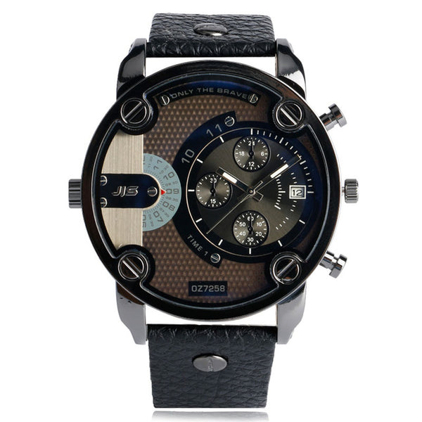 Military Leather Strap Quartz Wristwatch