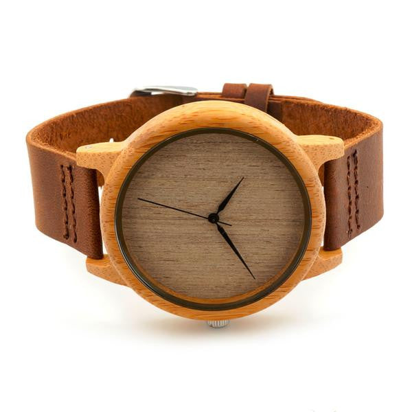 Bamboo Wood Watch With Cowhide Leather Band -men's watches - 30$fashion