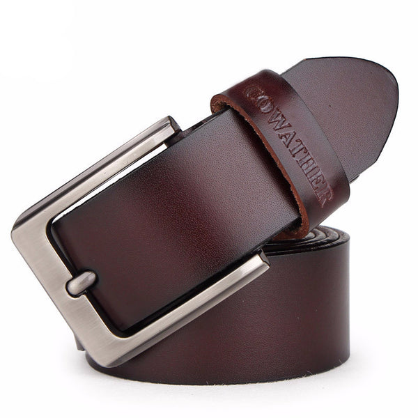 Black/Brown Genuine Leather Belt -Mens Accessories - 30$fashion