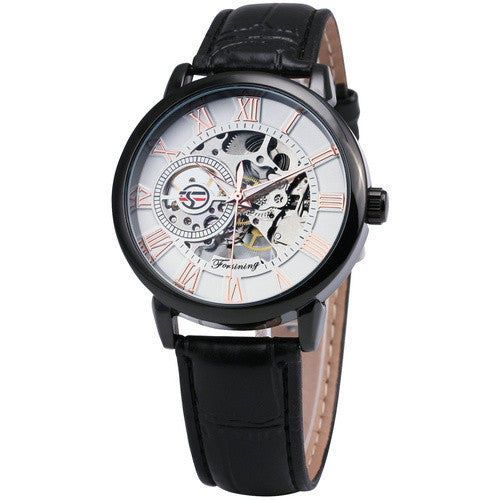 Mechanical Movement Leather Strap Watch -Watches - 30 Dollar Fashion