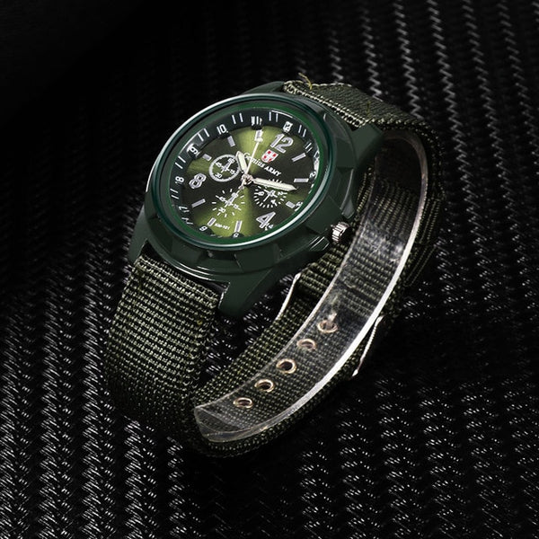 Men's Nylon Band Military Style Watch
