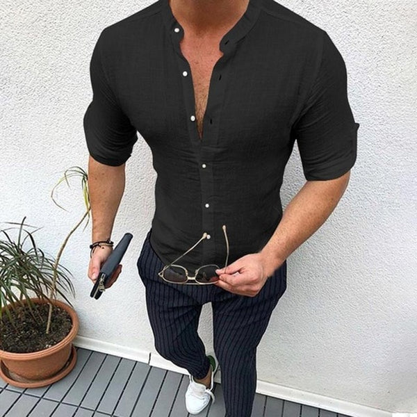 Autumn Plain Mens Dress Shirts Long Sleeve Dress Male Tops Slim Fit Button Shirts V Neck Muscle Tee Men Clothes Camisas 5XL -Men's tops - 30$fashion