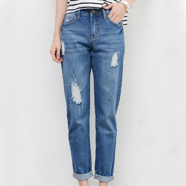 Ripped Boyfriend Jeans -Ladies bottoms - 30$fashion
