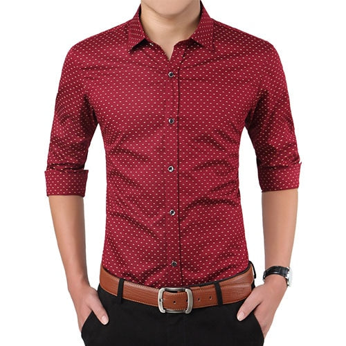 2019 New Autumn Fashion Brand Men Clothes Slim Fit Men Long Sleeve Shirt Men Polka Dot Casual Men Shirt Social Plus Size M-5XL -Mens Shirts - 30 Dollar Fashion