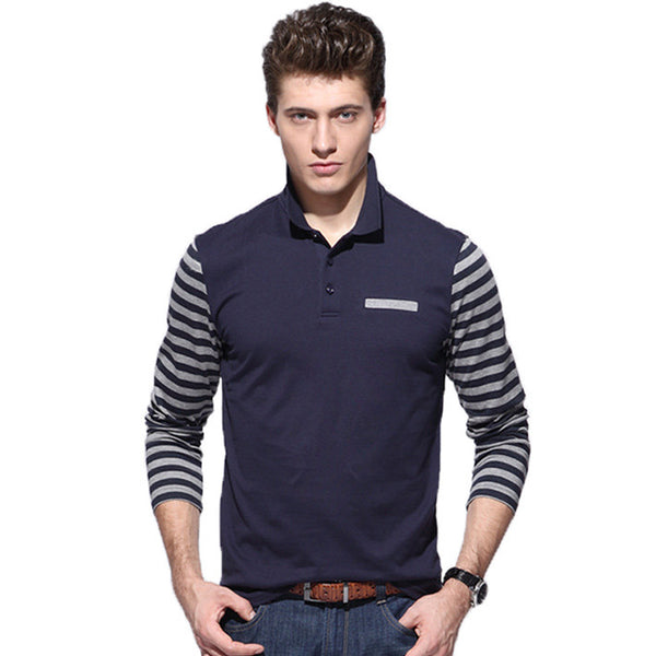 Striped Sleeves Polo Shirt -Men's tops - 30$fashion