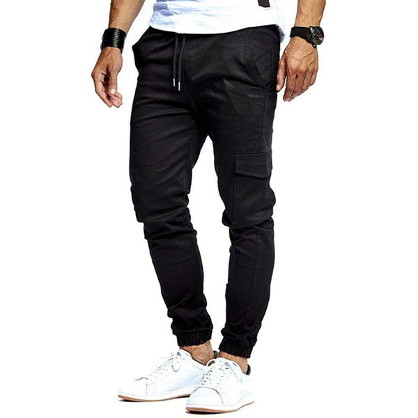2019 Men Pants Fashion Brand Tooling Pockets Joggers New Pants Male Trousers Casual Mens Joggers Solid Pants Sweatpants -mens pants - 30$fashion