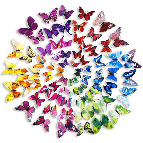 3D Butterfly Removable Mural Stickers Wall Stickers Decal for Home and Room Decoration, 12 Pieces - 6 Colors Available - Speedy Trends