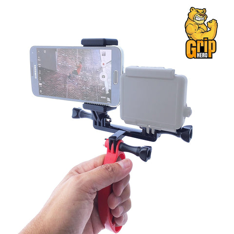 GripHero 3 in 1 Hand Held GoPro Stabilizer Mount for GoPro Hero, Smartphone or Both Simultaneously - Speedy Trends