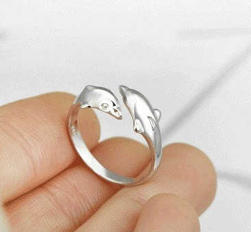 Adjustable Dolphins Ring Silver Plated