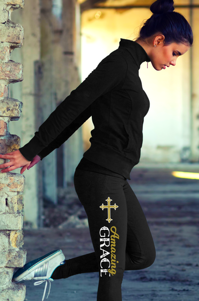 """Amazing Grace"" Christian Leggings Series - Speedy Trends"