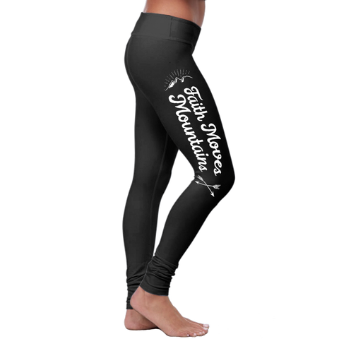 """Faith Moves Mountains"" Christian Leggings Series - Speedy Trends"