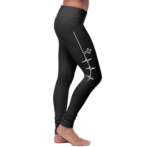"""Cross Heartbeat"" Christian Leggings Series - Speedy Trends"