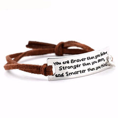"""You are braver than you believe...""Inspirational Message Words Charm Imitation Bracelets Brown Cord"