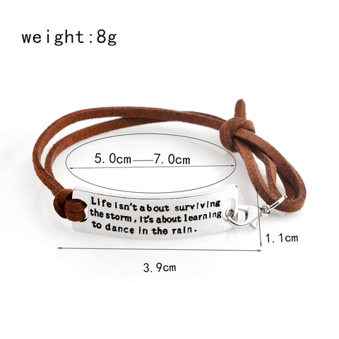 """Life isn't about...."" Inspirational Leather Bracelet"