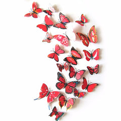 3D Butterfly Removable Mural Stickers Wall Stickers Decal for Home and Room Decoration, 12 Pieces - 6 Colors Available