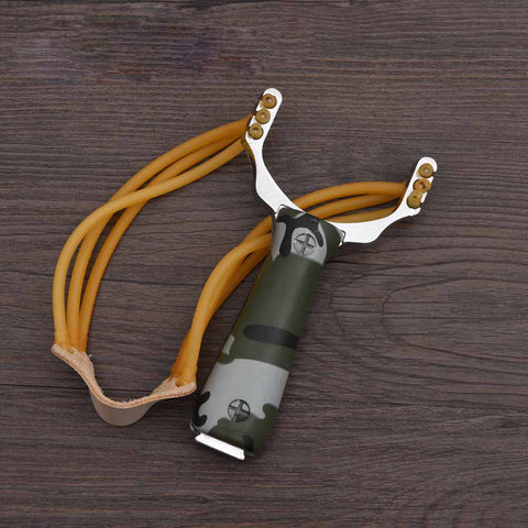 Powerful Sling Shot Aluminium Alloy - Camouflage or Wood - Speedy Trends