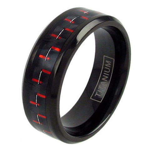 jewellery com dp carbon men ring band wedding amazon rings black s edges beveled inlay titanium fiber and