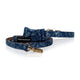 French Bulldog Bowtie dog collar with leach blue