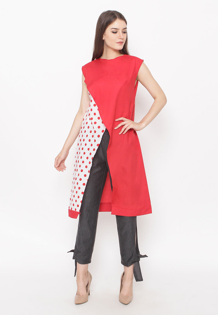 Polkadot Sleeveless Blouse - Red