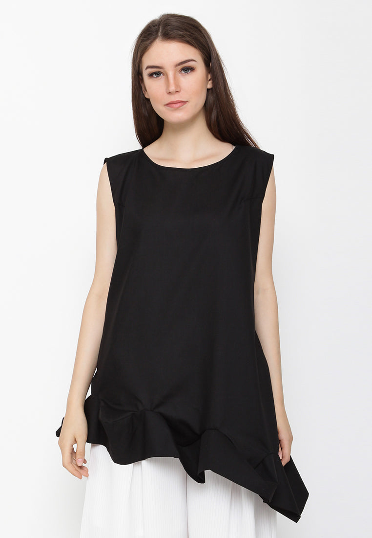 Sleeveless Blouse With Flare Detail - Black