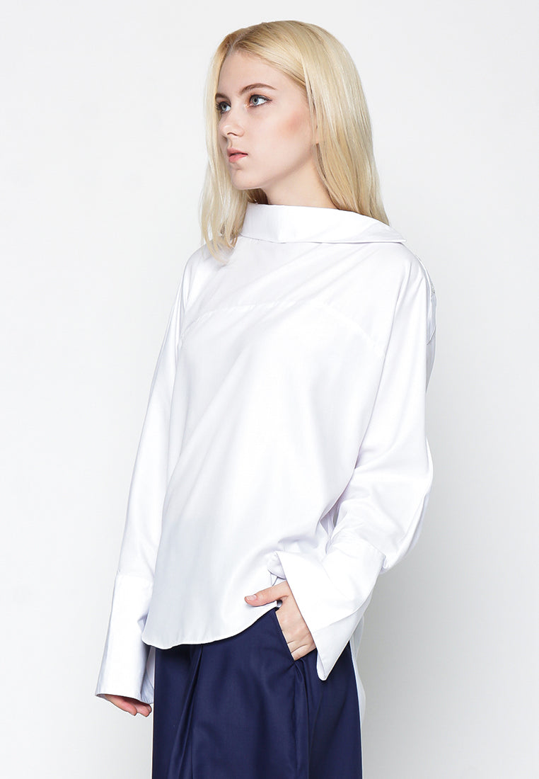 Long Sleeve Effortless Blouse - White