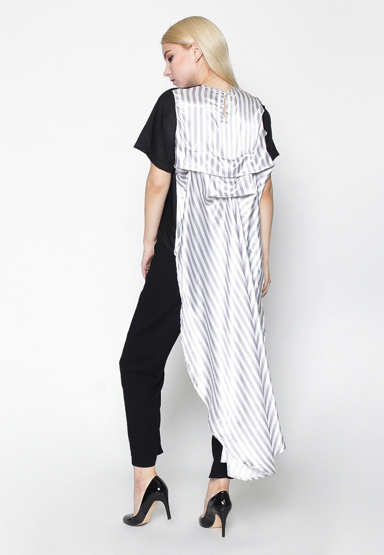 Stripe Long Tail Blouse - Black