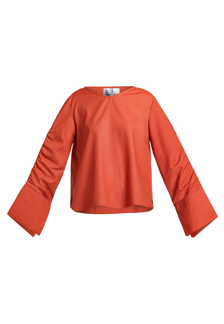 Long Sleeves Blouse With Dramatic Cuffs - Copper